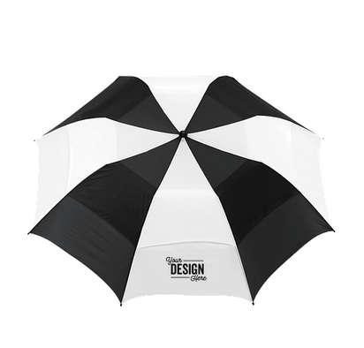 """58"""" Vented Auto Open Folding Golf Umbrella - Black and White Stripe"""