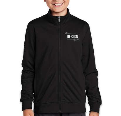 Sport-Tek Youth Tricot Track Jacket - Black / Black
