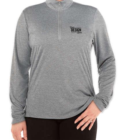 Sport-Tek Women's Endeavor Quarter Zip Performance Shirt - Light Grey Heather
