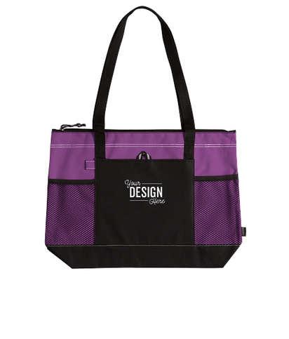 Large Multi-Pocket Zippered Tote Bag - Purple
