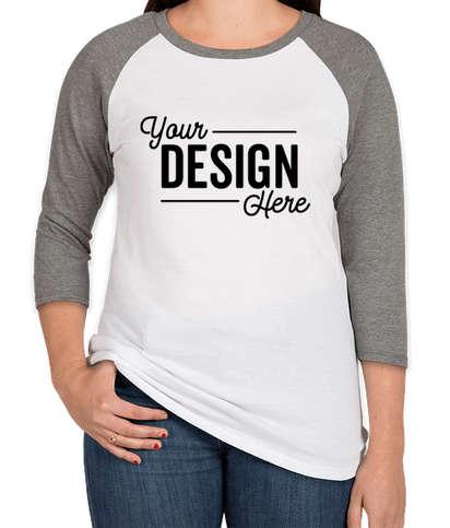 District Women's Tri-Blend Raglan T-shirt - Grey Frost / White