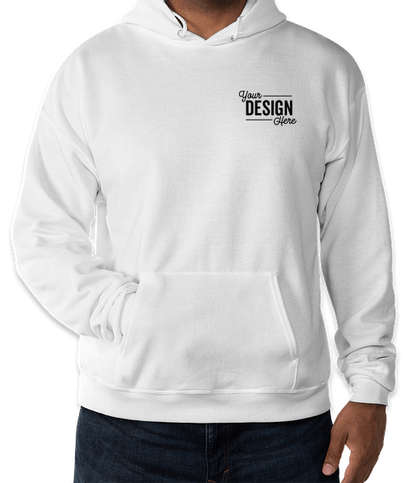 Embroidered Hanes EcoSmart 50/50 Pullover Hoodie - White