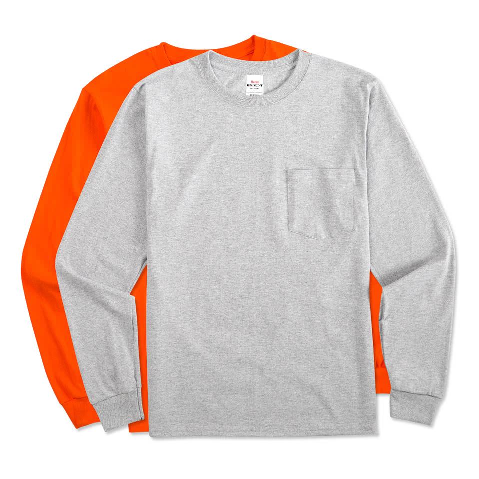 Custom hanes comfortsoft tagless long sleeve pocket t for Custom pocket t shirts