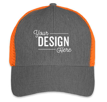 Big Accessories Urban Trucker Hat - Black / Neon Orange