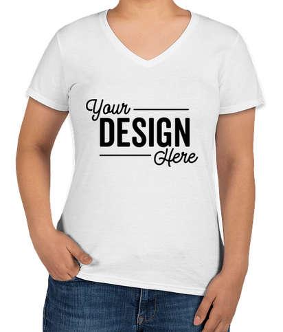Anvil Women's Jersey V-Neck T-shirt - White