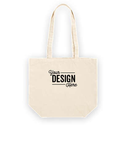 Large Natural Gusseted 100% Cotton Canvas Tote Bag - Natural