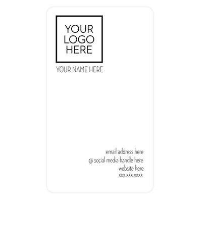 """3.5"""" x 2"""" Vertical Rounded Corner Business Cards - 14 pt. Cardstock - White Glossy"""