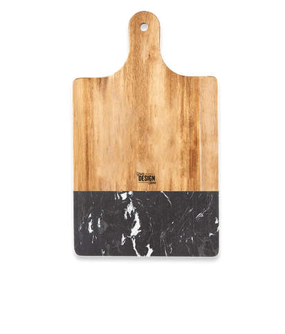 Laser Engraved Black Marble and Wood Cutting Board - Black