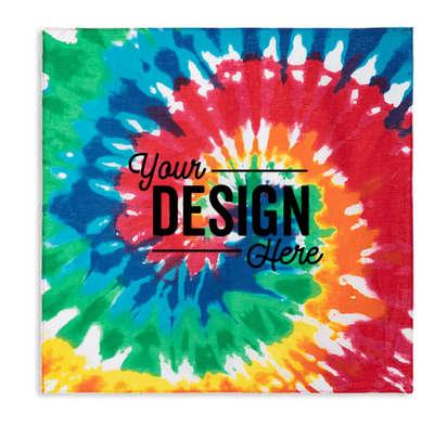 Valucap 100% Cotton Tie-Dye Bandana (Centered Design) - Rainbow Tie-Dye