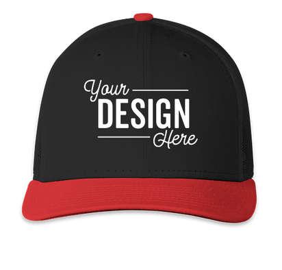 New Era Snapback Low Profile Trucker Hat - Black / Scarlet