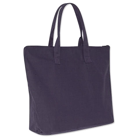 Large Wide 100% Cotton Canvas Zippered Tote