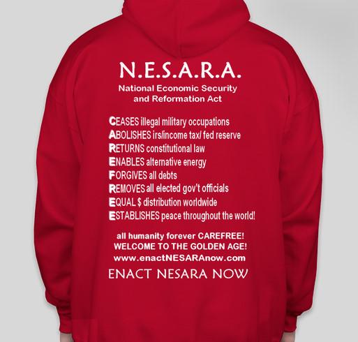 Enact NESARA Now Apparel Fundraiser - unisex shirt design - back