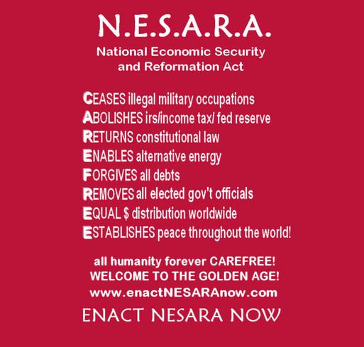 Enact NESARA Now Apparel shirt design - zoomed