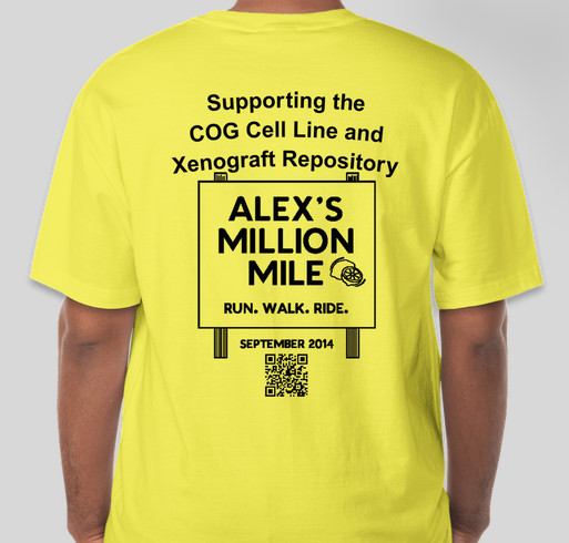 Team Cellbusters for Alex's Million Mile Fundraiser - unisex shirt design - back