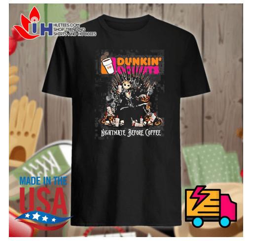 Jack Skellington Dunkin' Donuts Nightmare before coffee shirt shirt design - zoomed