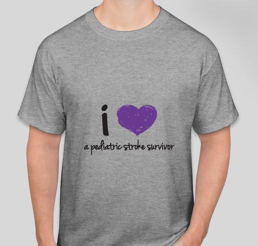 """2014 Pediatric Stroke Awareness """"I Love"""" shirt from CHASA Fundraiser - unisex shirt design - front"""