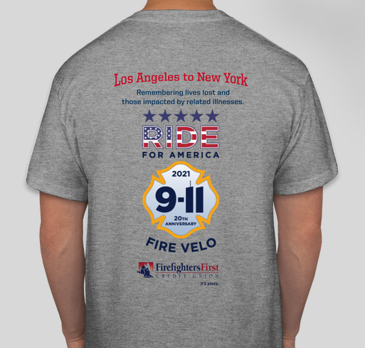 Ride For America 2021 - Firefighters bicycling for veterans, firefighter cancer and mental health round 2 Fundraiser - unisex shirt design - back