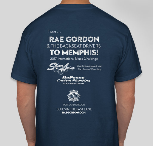 Rae Gordon & the Backseat Drivers to Represent Portland in Memphis International Contest Fundraiser - unisex shirt design - back