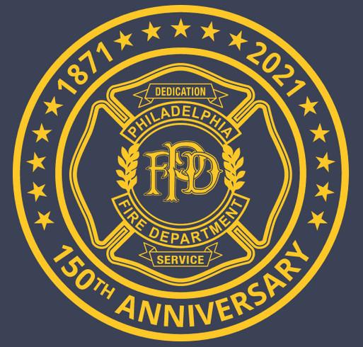 Philadelphia Fire Department 150th Anniversary Tee shirt design - zoomed