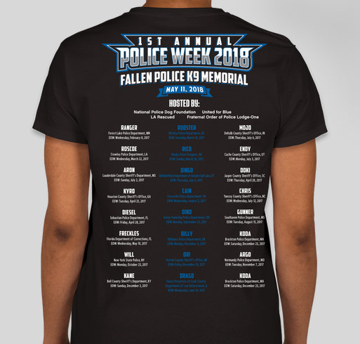 1st Annual Fallen Police K9 Memorial Fundraiser - unisex shirt design - back