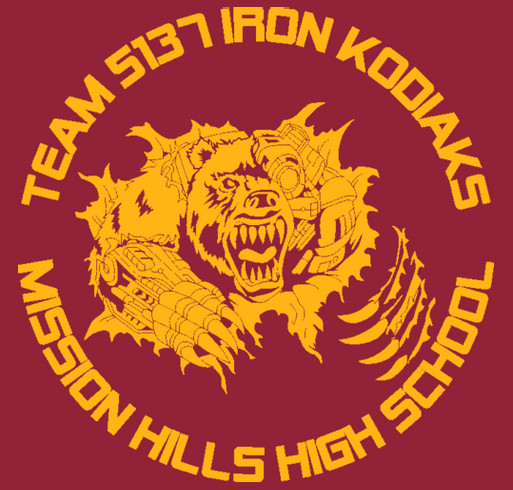 FIRST Robotics Team #5137: Iron Kodiaks shirt design - zoomed