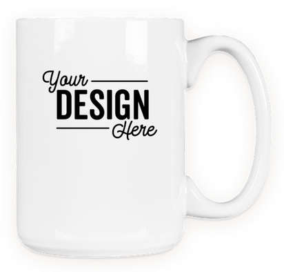 15 oz. Large Ceramic Mug - White