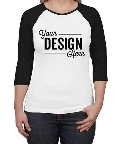 Bella + Canvas Women's Slim Fit Raglan T-shirt - White / Black