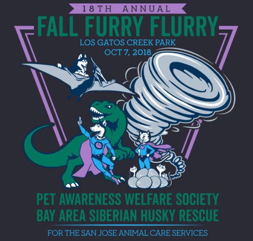 Pet Awareness Welfare Society & Bay Area Siberian Husky Rescue shirt design - zoomed