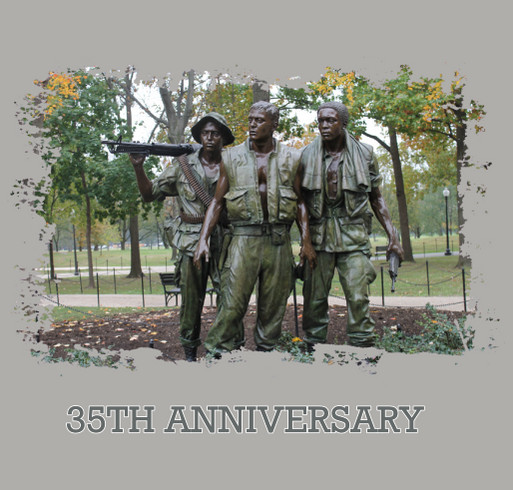 35th Anniversary of the Three Servicemen Statue shirt design - zoomed