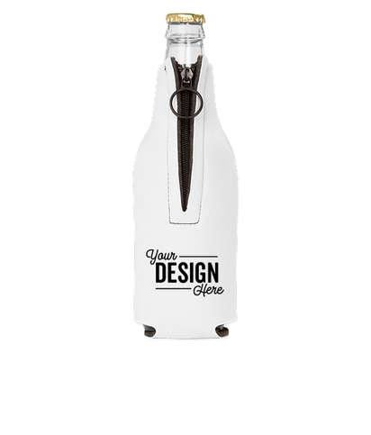 Foldable Foam Zipper Bottle Cooler - White