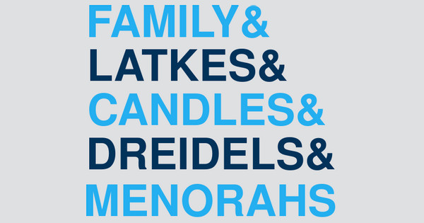 Family Latkes Candles Dreidels Menorahs