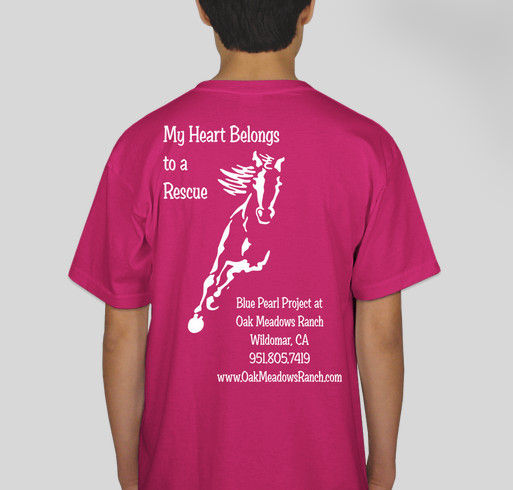 Blue Pearl Project at Oak Meadows Ranch Horse Rescue Youth T Shirt Fundraiser Fundraiser - unisex shirt design - back