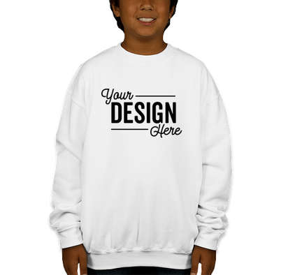 Gildan Youth Midweight 50/50 Crewneck Sweatshirt - White