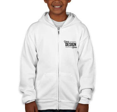 Hanes Youth EcoSmart 50/50 Zip Hoodie - White