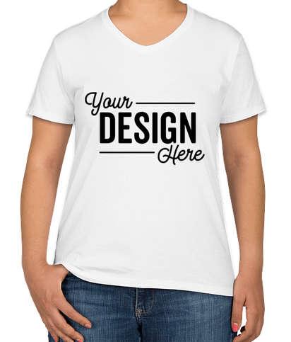 Hanes Women's 100% Cotton V-Neck T-shirt - White