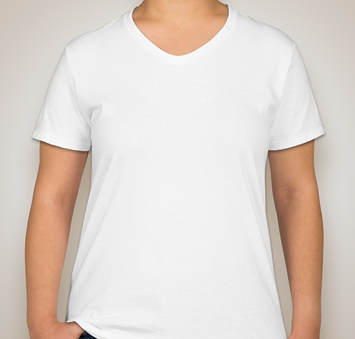 Hanes Ladies 100% Cotton V-Neck T-shirt - White