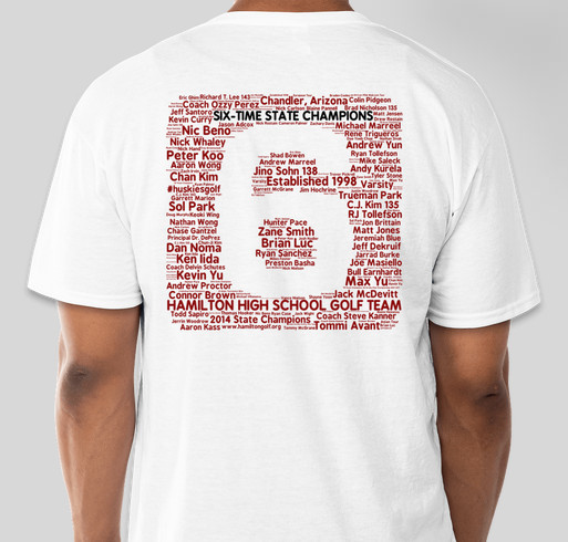 2015 Hamilton HS Huskies Boys Golf Limited Edition T-Shirt Drive Fundraiser - unisex shirt design - back
