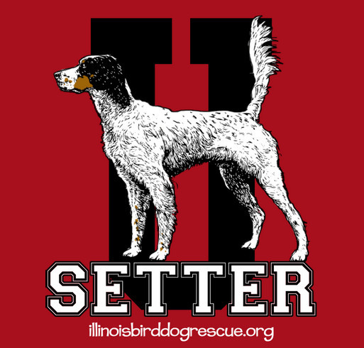 This fundraiser is dedicated to all the English Setters we have saved this year and also to help Harrison with his Heartworm medical expenses. shirt design - zoomed