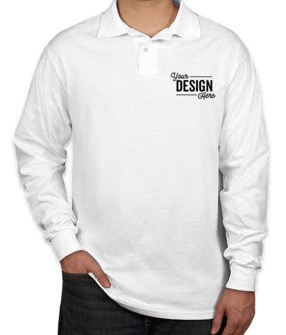 Jerzees Spotshield 50/50 Long Sleeve Jersey Polo - White