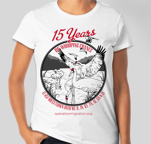 Celebrate 15 Years of Whooping Crane Flights! Fundraiser - unisex shirt design - front
