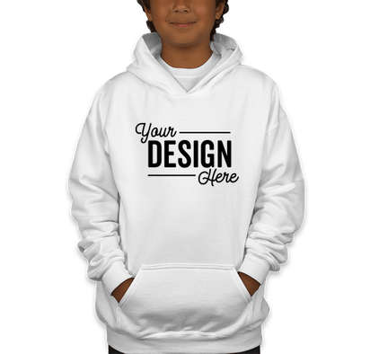 Canada - Gildan Youth Midweight 50/50 Pullover Hoodie - White