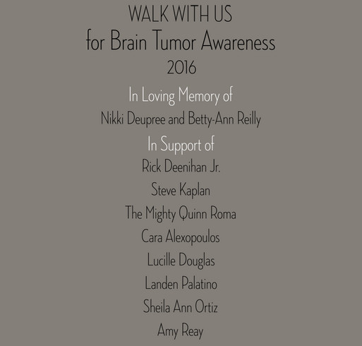 2016 WALK WITH US for Brain Tumor Awareness shirt design - zoomed