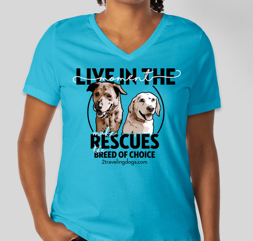 """The 2 Traveling Dogs """"Live In The Moment"""" Tour Fundraiser - unisex shirt design - front"""