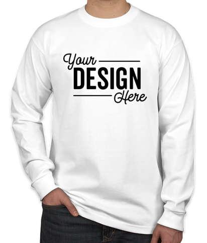 Bayside USA-Made 100% Cotton Long Sleeve T-shirt - White