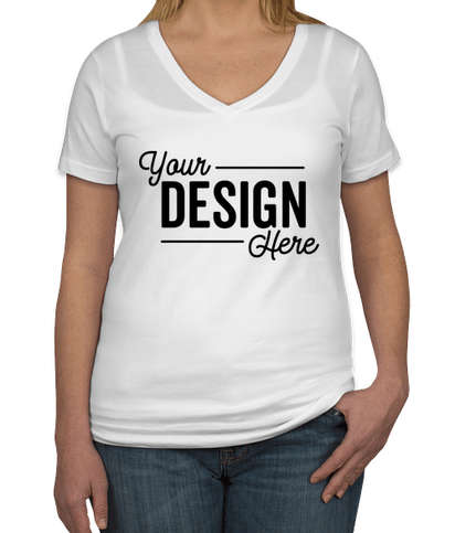 Anvil Women's Lightweight V-Neck T-shirt - White