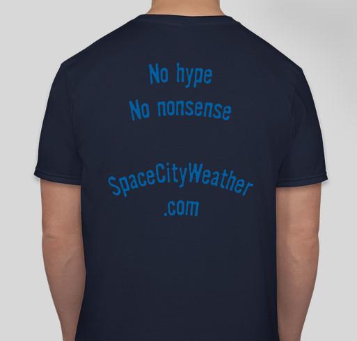Space City Weather t-shirt drive Fundraiser - unisex shirt design - back