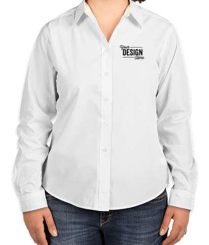 Port Authority Women's Long Sleeve Easy Care Shirt - White/Light Stone
