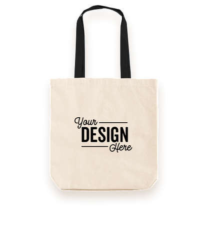 Midweight Contrast Handles Cotton Canvas Tote Bag - Natural / Black