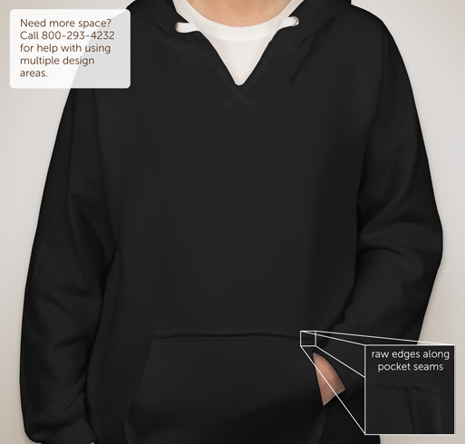 J. America Ladies V-Neck Hooded Sweatshirt - Black