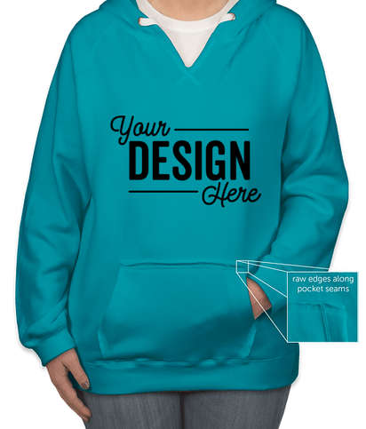 J. America Women's V-Neck Pullover Hoodie - Turqberry